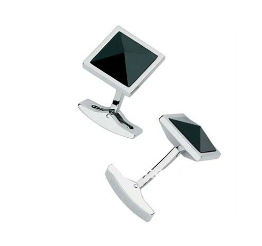 Crystal Cuff Link with High-Polished Finish