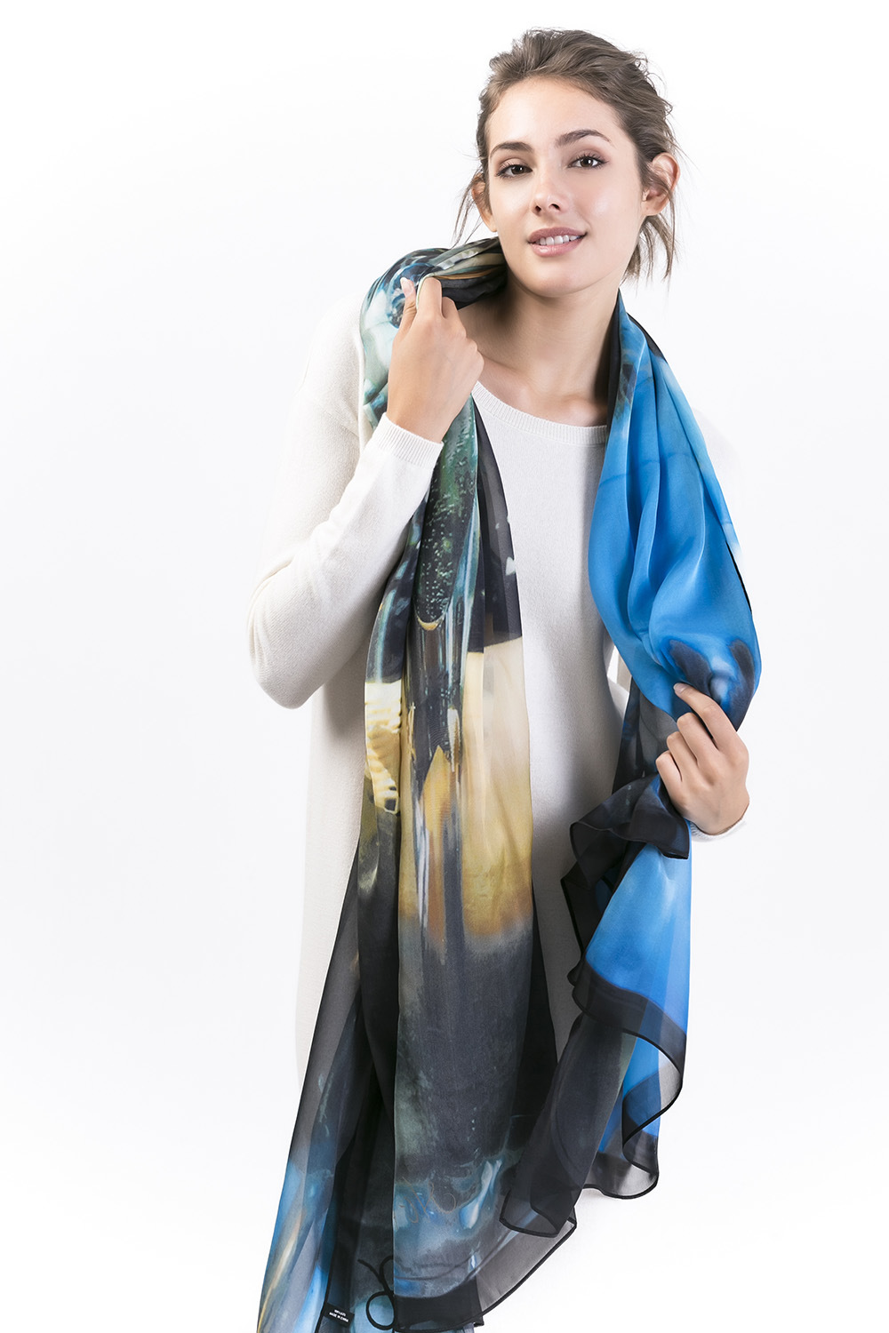 Ambi-100% Silk Digital Printed X-Large Shawl; Fashion Silk Chiffon Scarf