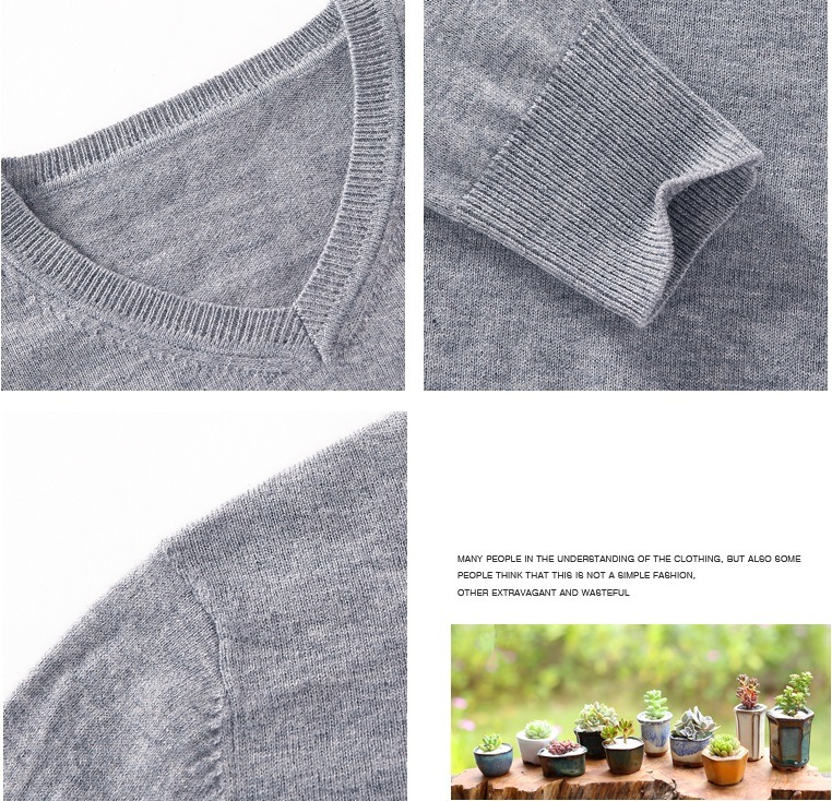 Hi Quality Girl's V-Neck Knitting Sweater Clothing with Long Sleeves