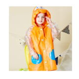Children Crtoon EVA/PVC Raincoats with Schoolbag