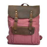 Full Grain Leather Handbag Double Straps Shoulder Laptop Canvas Backpack Bag (RS-2166)