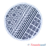 Large Cut Pile Printed Round Beach Towel