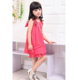 OEM New Pink Girl Chiffon Dresses