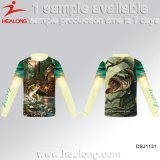 Healong Latest Design Sportswear UV-Protection 3D Sublimation Fishing Shirt