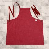 Red Washed Denim Apron Fashion Ladies Workwear Full Bib Apron (RS-170301C)