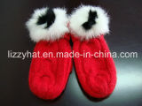 Fashion Knitted Angora Mitten Gloves with Rabbit Pompoms