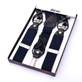 Genuine Leather Button Hole High Quality Elastic Webbing Man Suspender Woman Braces (RS-17021)