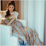 Chiffon Puppy Cartoon T - Shirt Plaid Medium Skirt Set