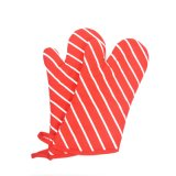 Cotton Microwave Protective Red Oven Mitt Stripes Printed Oven Gloves