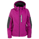 Two Colours Combination Womens Waterproof Breathable Padded Ski Jacket
