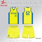 Healong OEM Sportswear Sublimation Printing Reversible Basketball Jersey