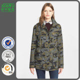 2016 Quality Women's Camo Print Hooded Flak Jacket