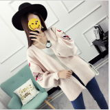 Women Single Row Button Round Neck Long Sleeve Knit Cardigan Embroidered Sweater