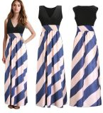 Wholesale Women Ice Silk V-Neck Printed Maxi Dress