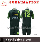 Healong Full Sublimation Royal Green and Black Customized Design Soccer Set (Football Set)
