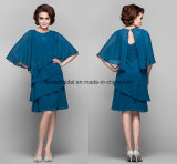 Blue Groom Mother's Dresses Knee-Length Mother of Bride Dresses Z1006