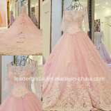 Pink Bridal Gowns 3/4 Sleeves Sheer Beaded Wedding Dress Lb285