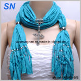 Blue Jesery Cross Pendant Scarf Attractive New Shawl