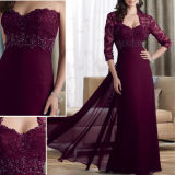 Wine Red Chiffon Lace Long Sleeves Beaded Evening Dress M1305203