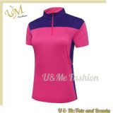 Women Half Zip Polyester Sports Polo Shirts with Short Sleeve