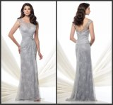 Silver Lace Mother of The Bride Dress Long Sheath Formal Evening Dress E1511