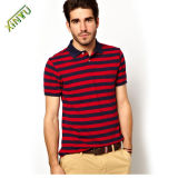 100% Cotton Embroidery Printing Classic Stripe Polo Shirt