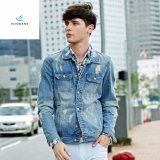 New Style Men Long Sleeve Light Blue Denim Jackets with Whisker by Fly Jeans